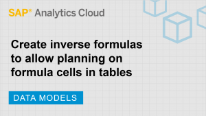 Image for Create inverse formulas to allow planning on formula cells