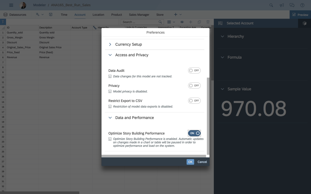 Optimize Story Building toggle