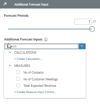 Selecting additional input parameters
